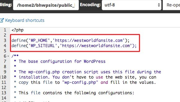 add code to wp-config file