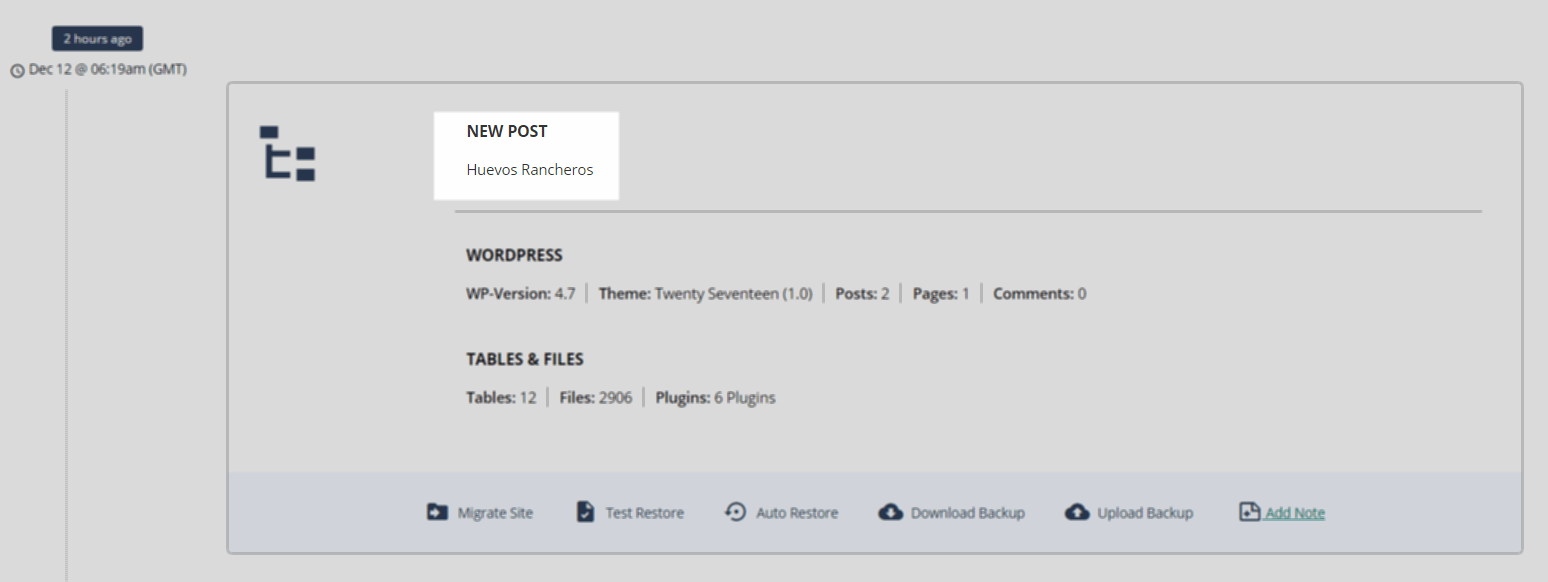 When you add a new post and BlogVault backs up your site, a note is automatically added to the backup version