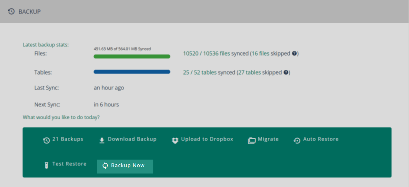 Or from the Backup Module, by clicking on 'Backup Now':
