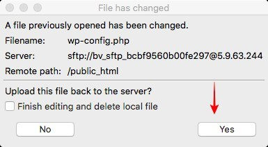 Prompt by FileZilla to save changes