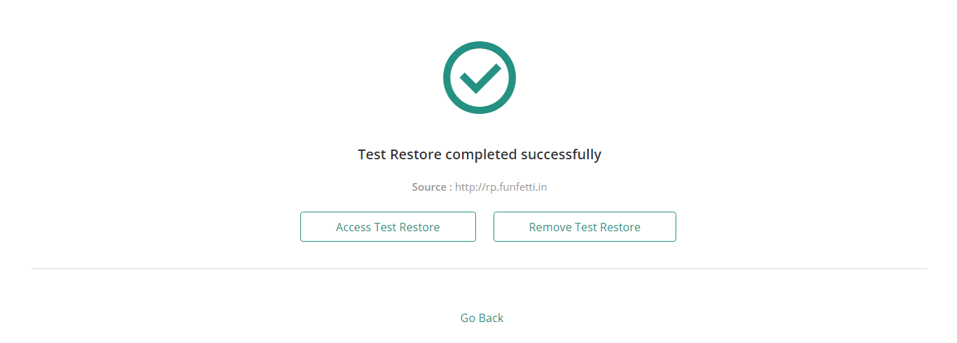You can access or delete any test restore, by just clicking on it from either the notifications center, or the task progress section