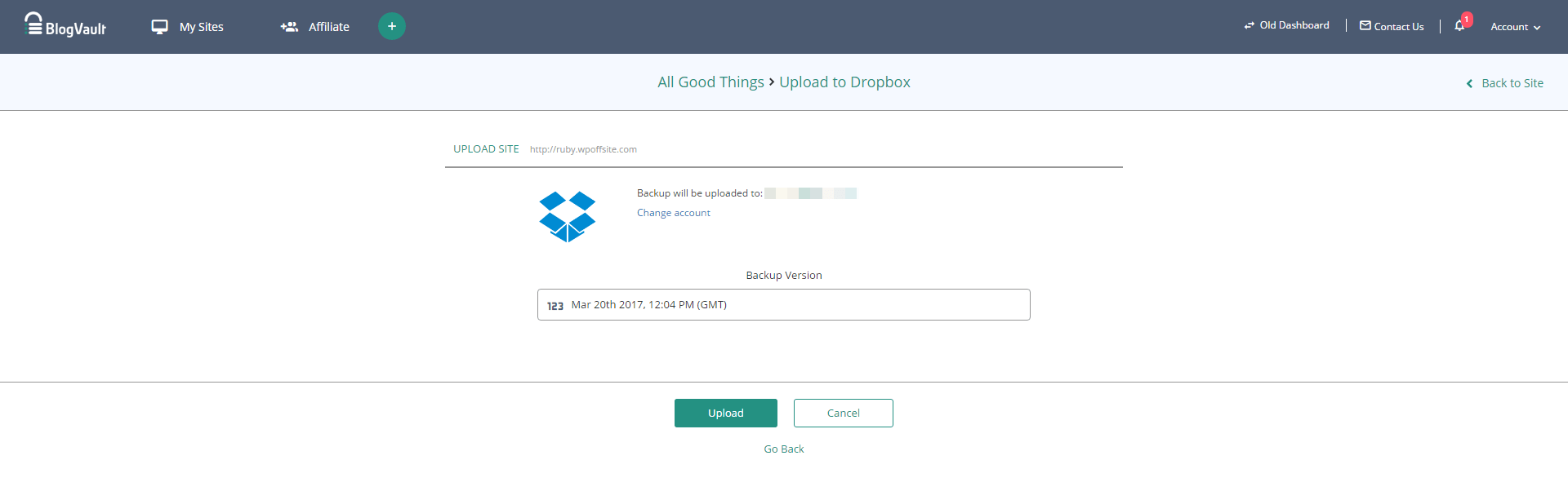 Choose the backup version you want to upload to your Dropbox account