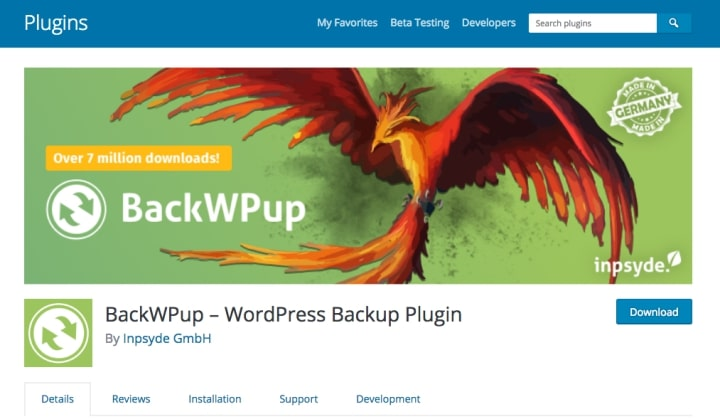 BackWP Up WordPress Dropbox Backup Plugin