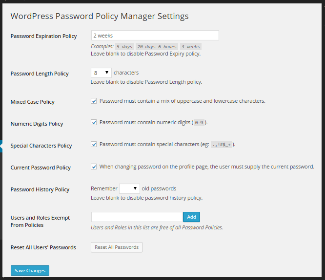 WP Password Policy Manager - Strong passwords