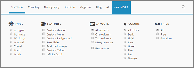 Different options for choosing WP theme