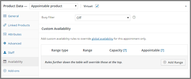WooCommerce Apointments custom availability