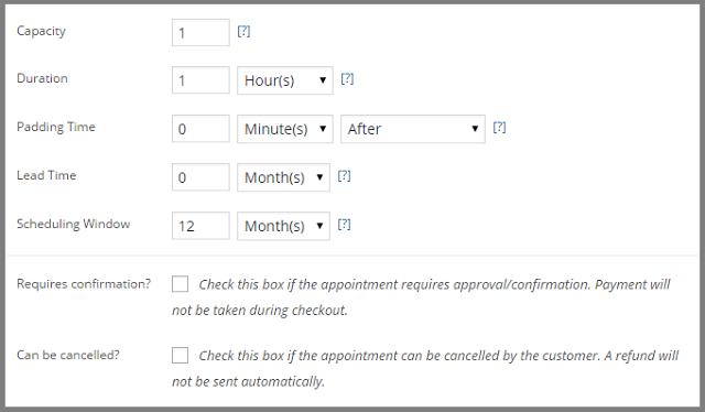 WooCommerce Apointments scheduling window cancellation