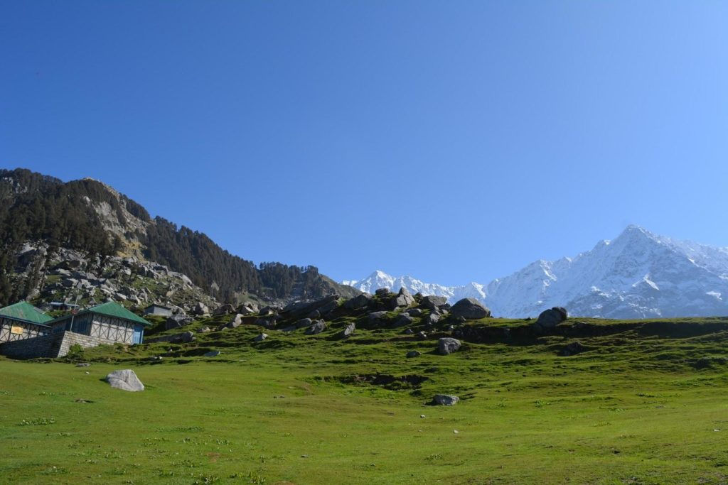 Triund. The contrast of the lush lawns (that looked manicured) laying before the snow-capped peaks was a wonderful sight.