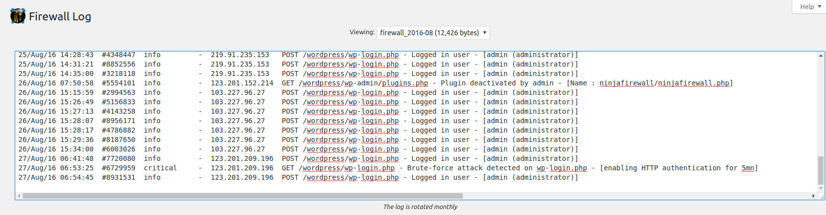 the Firewall Log for Brute Force Attacks