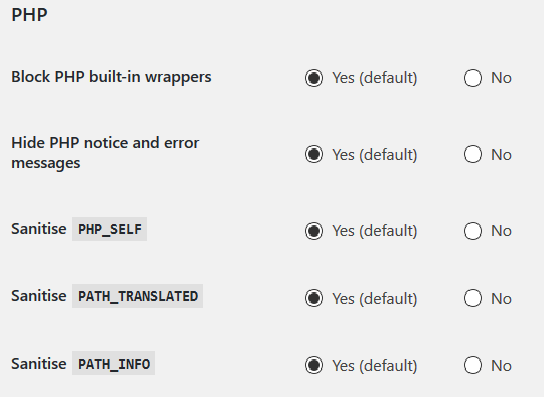 These options prevent hackers from using PHP wrappers to pass GET and POST requests. They also hide error messages.