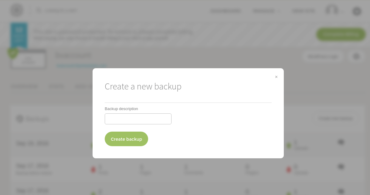 Forcing a backup on Flywheel first results in a pop-up asking for a backup description to help tell backups apart