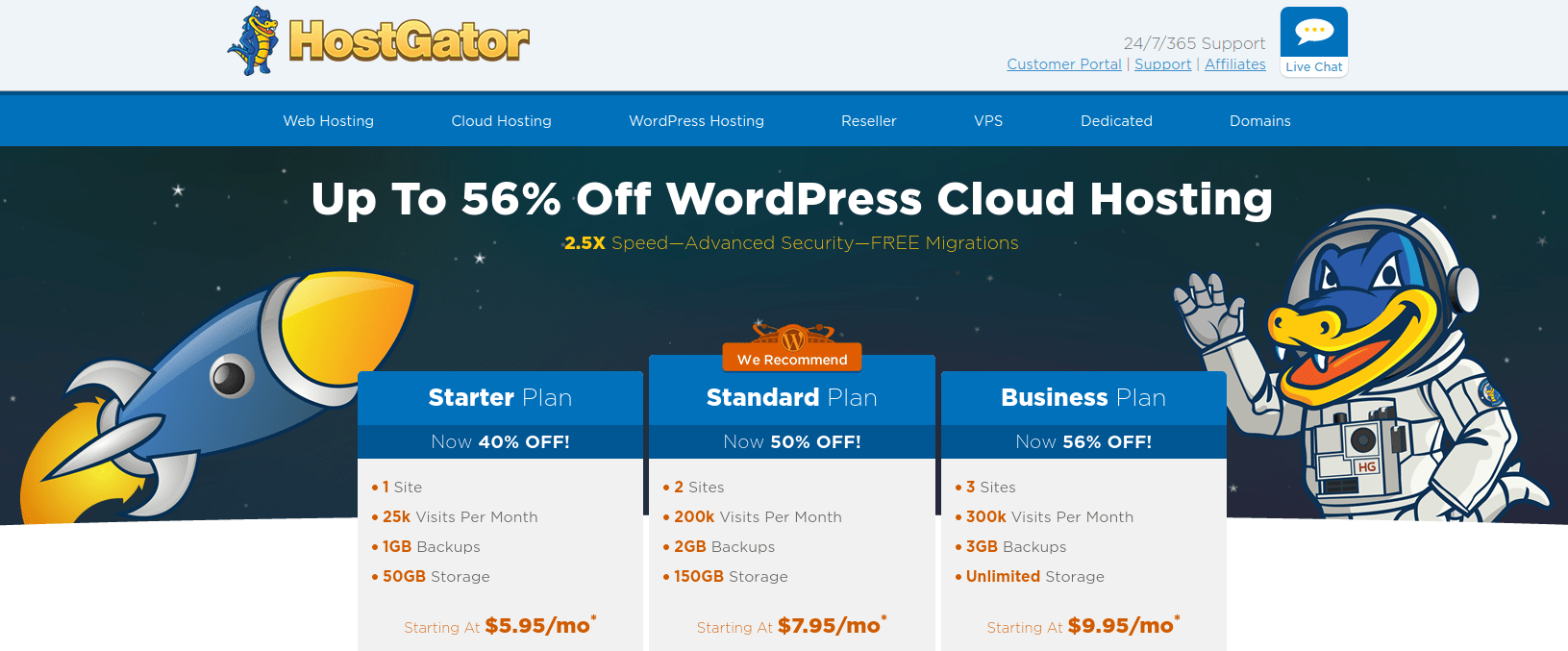 A screenshot of HostGator's pricing for WordPress websites A screenshot of HostGator's pricing for WordPress website hosting