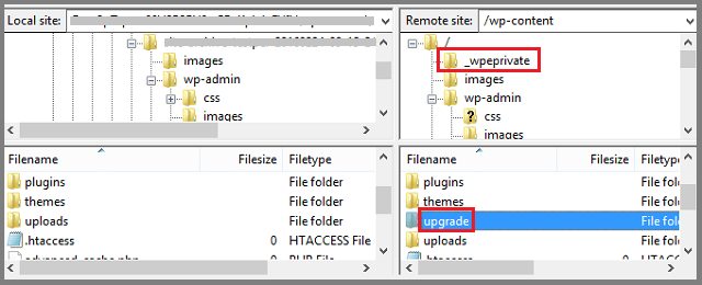 Screenshot highlighting the folders missing in the downloaded backup ZIP