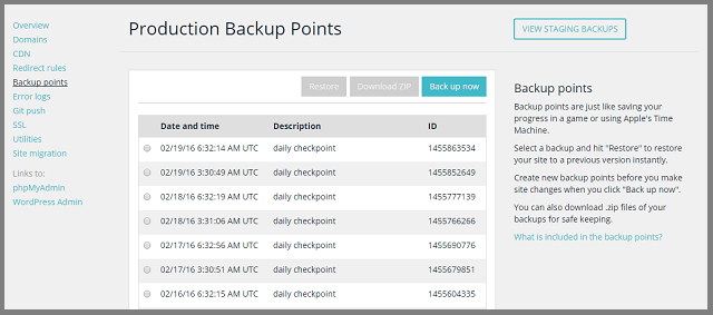 WP Engine generates both Production backups and Staging backups