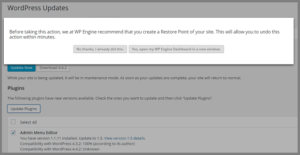 WPEngine prompts to create checkpoints or restore points whenever any change is to be made to your WordPress site