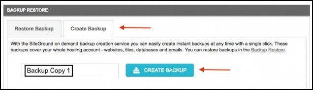 create backups with siteground