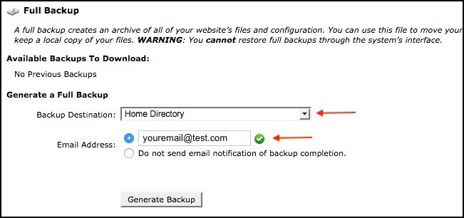 enter email generate siteground backup