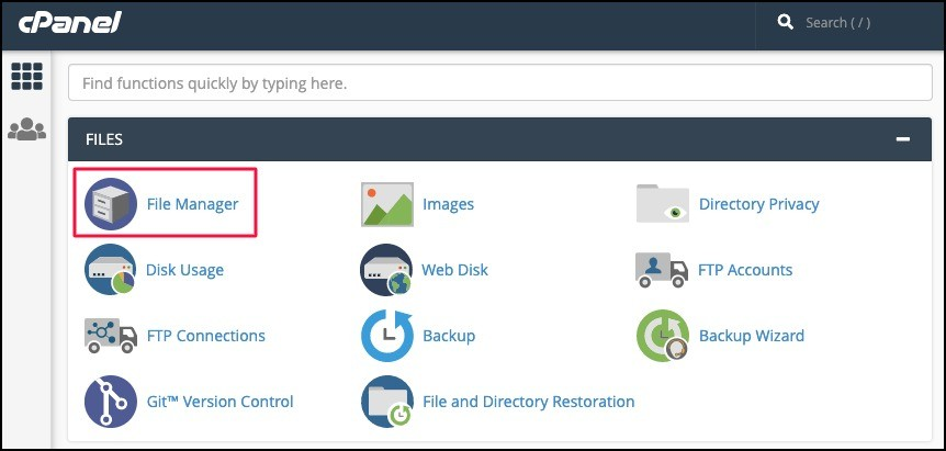 select file manager in cpanel