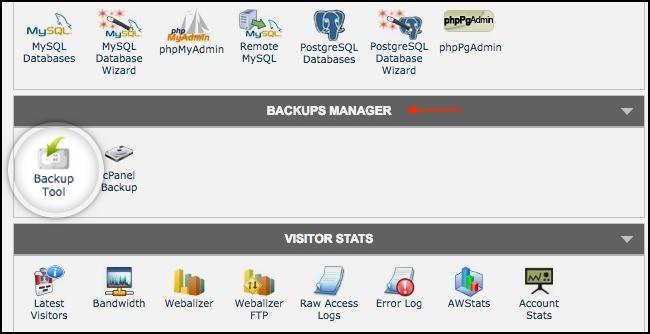 backup tool on siteground