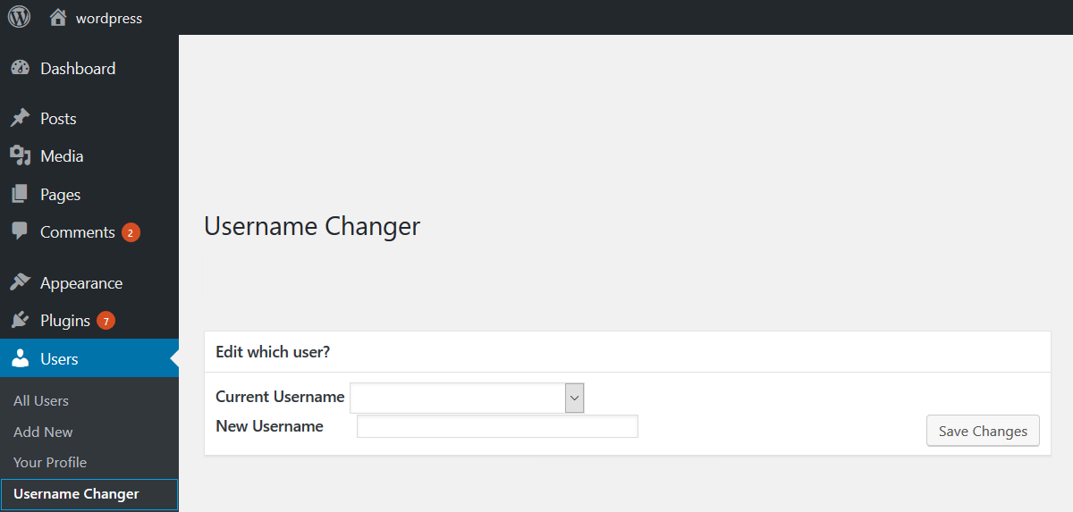 Select which user you'd like to change the name of, with the Username Changer plugin.
