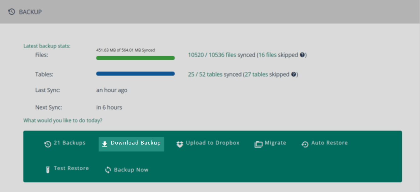 You can download backups' files or tables by clicking on Download Backup from the Site Details page