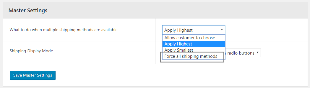 13 FORCE ALL SHIPPING METHODS