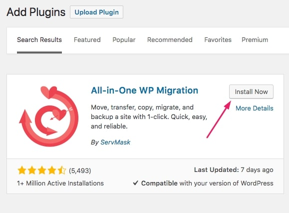 click to install all in one wp migration plugin