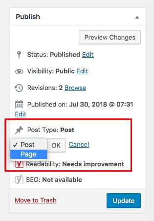 Change Post to page option