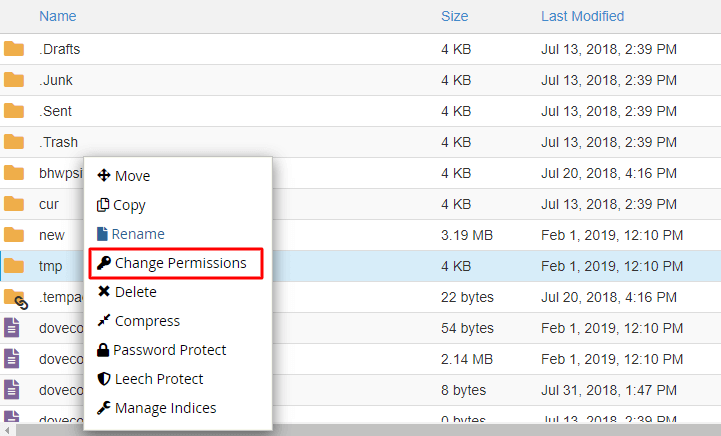 File manager change permission
