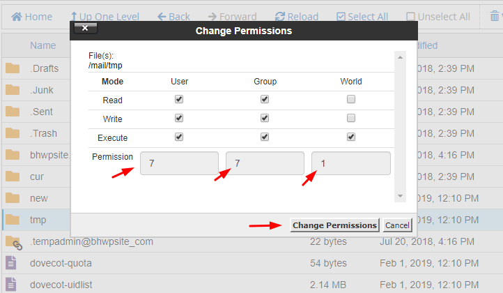 File manager change permission popup