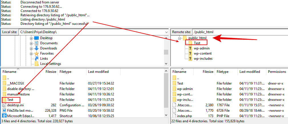 Filezilla test folder drag & drop