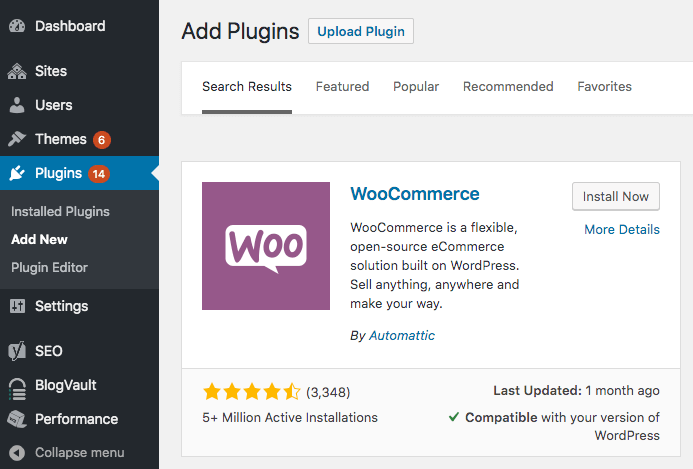 install and activate woocommerce plugin