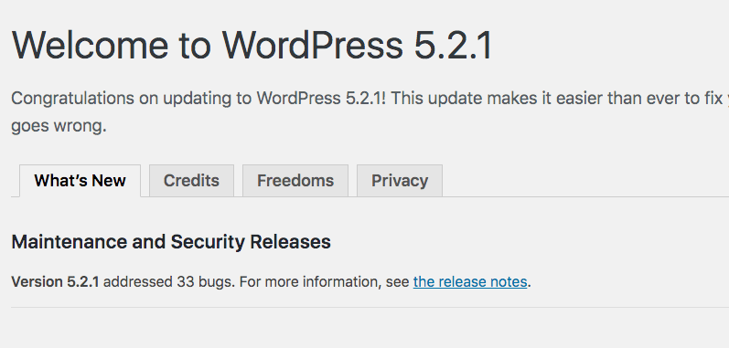 wordpress welcome message