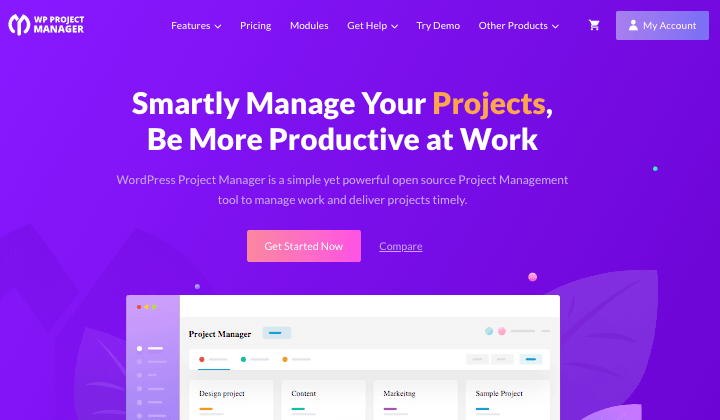 WP Project Manger Homepage