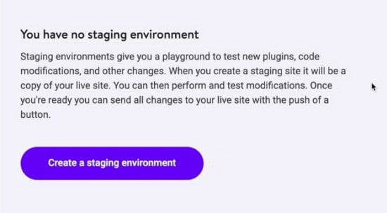 creating a staging enviroment