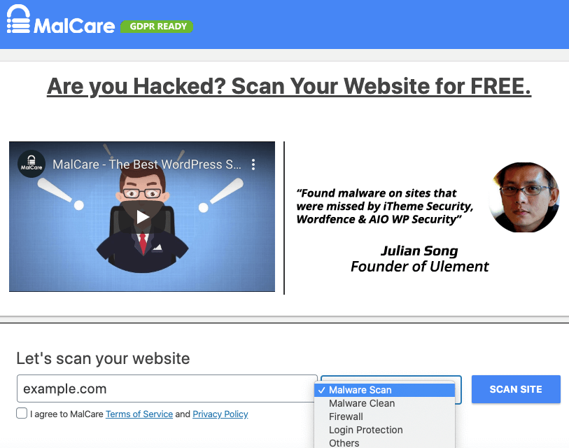 malcare scan site and remove godaddy malware