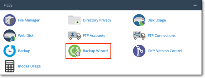 find backup wizard in cpanel