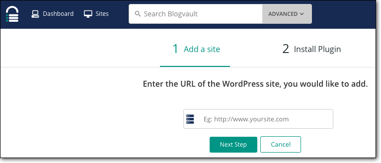 Add your WordPress site that needs to be staged