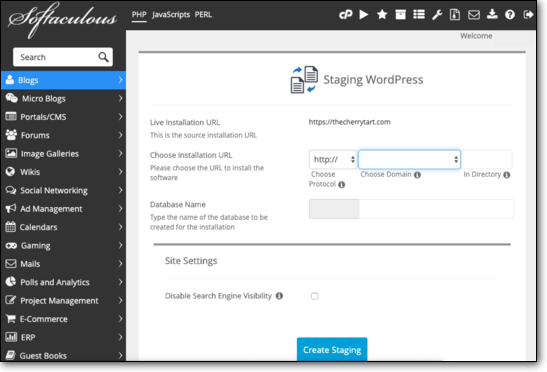 Select the site to create WordPress Staging for