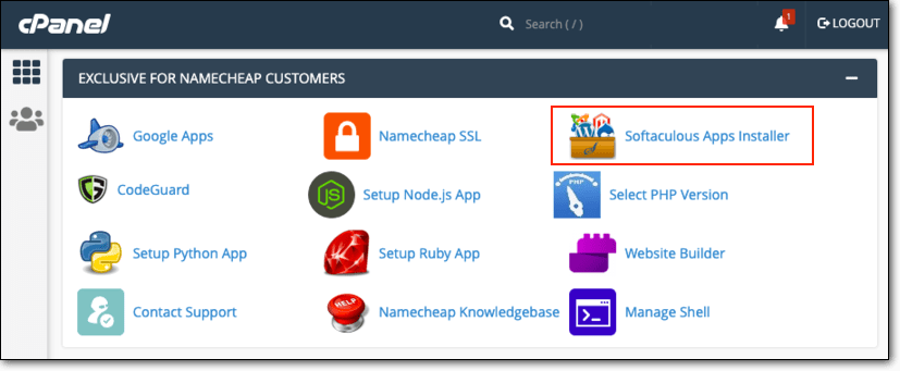 Go to Softaculous Apps Installer