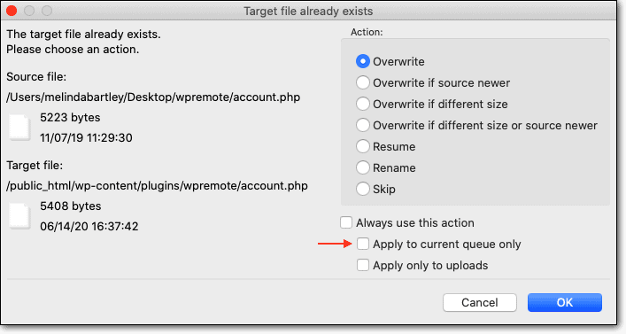 Overwrite files in FTP