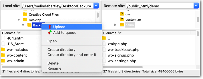 Using FTP to upload WordPress files to the new domain