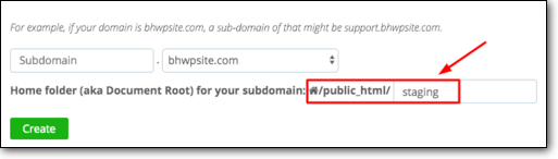 name sub directory staging in cpanel