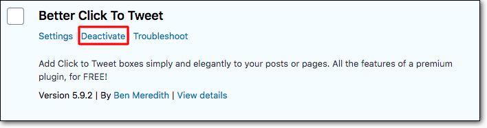 Deactivate the plugin causing the conflict