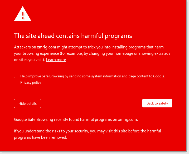 The Site Ahead Contains Harmful Programs