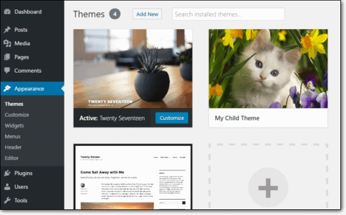 Activate Child Theme from WP Dashboard