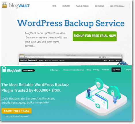 BlogVault website before and after a custom theme