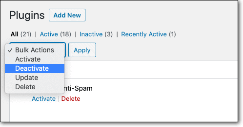 Deactivate plugins on wp dashboard