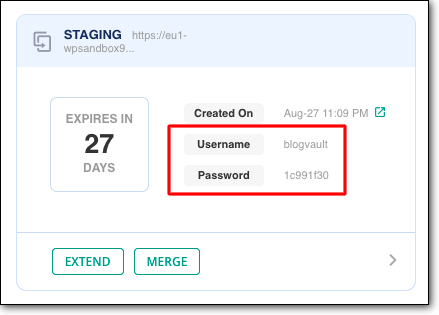 blogvault staging password and username