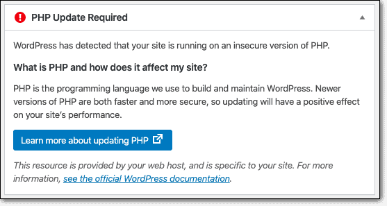 php update notification